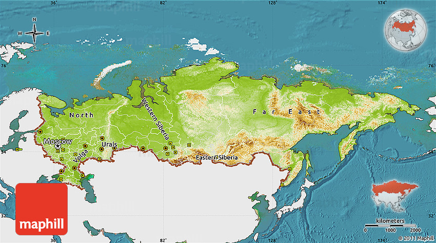 Physical Map of Russia single color outside satellite sea