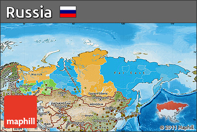 Free Political Map of Russia satellite outside bathymetry sea