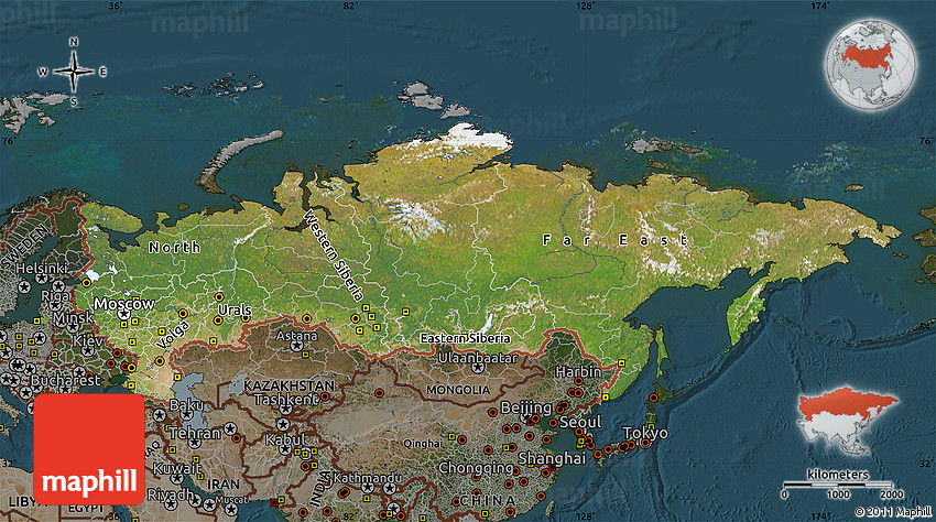 Satellite Map of Russia darken