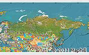 Satellite Map of Russia, political outside, satellite sea