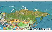 Satellite Map of Russia, political shades outside, satellite sea