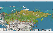 Satellite Map of Russia, semi-desaturated, land only