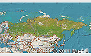 Satellite Map of Russia, shaded relief outside, satellite sea