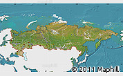 Satellite Map of Russia, single color outside