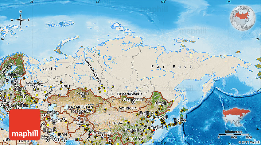 Shaded Relief Map of Russia satellite outside shaded relief sea