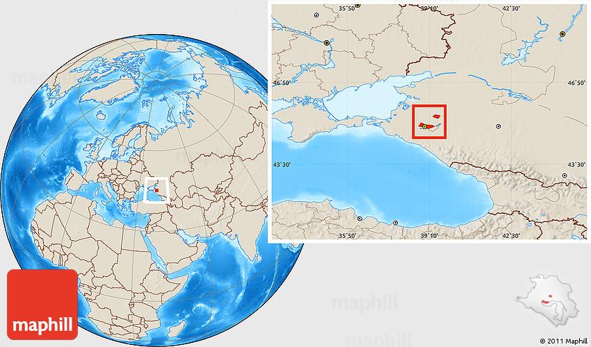 Shaded Relief Location Map of Krasnodar