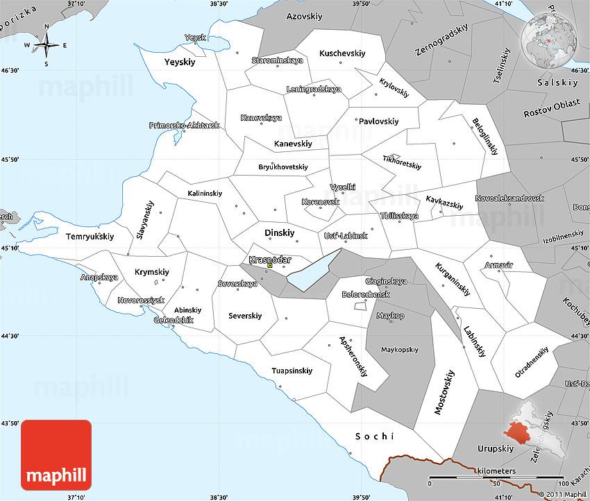 Gray Simple Map of Krasnodar Krai