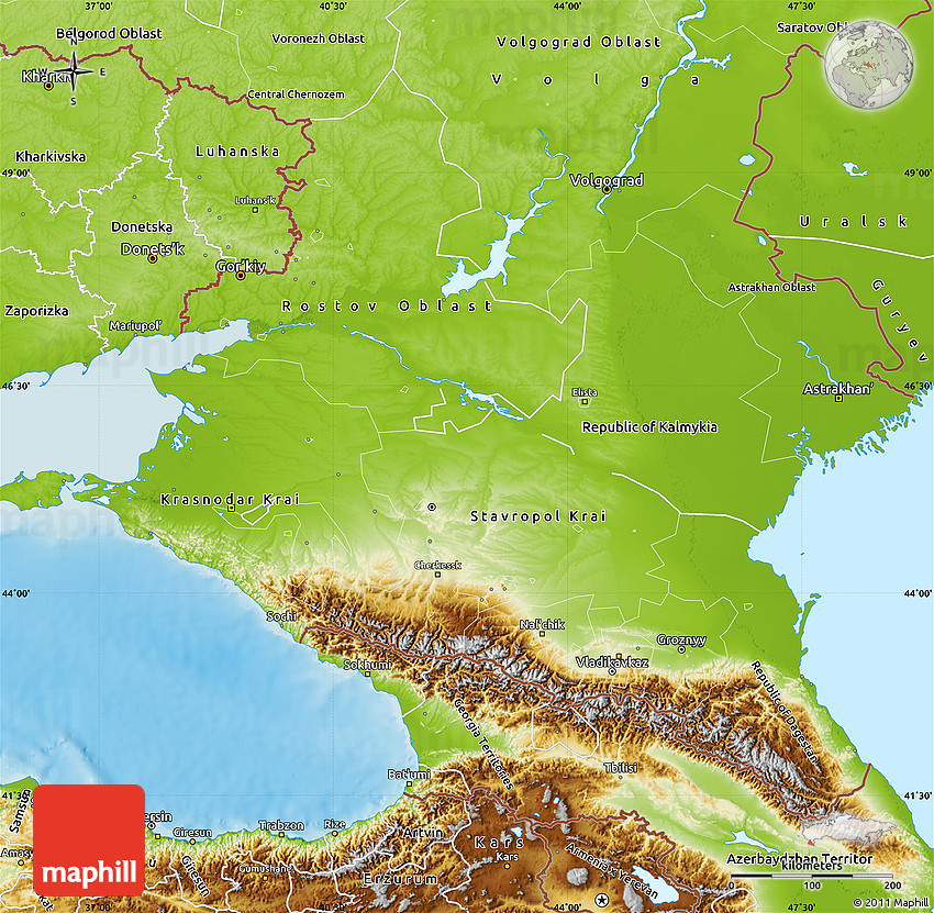 Physical Map of North Caucasus