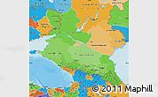 Political Shades Map of North Caucasus