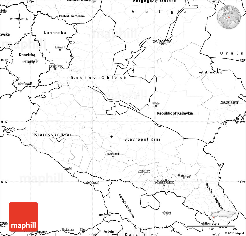 Blank Simple Map Of North Caucasus - Blank map of russia