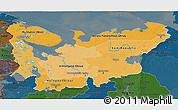 Political Shades 3D Map of North, darken