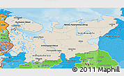 Shaded Relief 3D Map of North, political shades outside