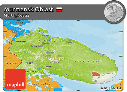 Free Physical Map of Murmansk Oblast political outside