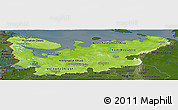 Physical Panoramic Map of North, darken