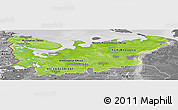 Physical Panoramic Map of North, desaturated