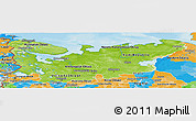 Physical Panoramic Map of North, political outside