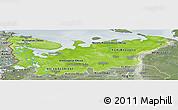 Physical Panoramic Map of North, semi-desaturated