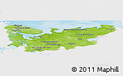 Physical Panoramic Map of North, single color outside