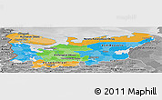 Political Panoramic Map of North, desaturated