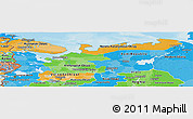 Political Panoramic Map of North, political shades outside