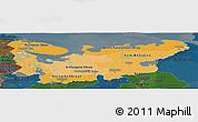 Political Shades Panoramic Map of North, darken