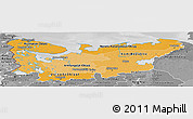 Political Shades Panoramic Map of North, desaturated