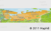 Political Shades Panoramic Map of North, physical outside
