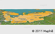 Political Shades Panoramic Map of North, satellite outside