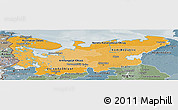 Political Shades Panoramic Map of North, semi-desaturated