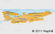 Political Shades Panoramic Map of North, single color outside