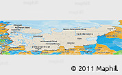 Shaded Relief Panoramic Map of North, political outside