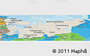 Shaded Relief Panoramic Map of North, political shades outside