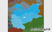 Political Shades 3D Map of Northwest, darken