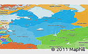 Political Shades Panoramic Map of Northwest