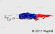 Flag Panoramic Map of Russia, flag aligned to the middle