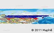 Flag Panoramic Map of Russia, physical outside