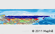 Flag Panoramic Map of Russia, political shades outside