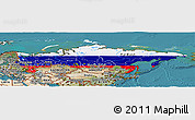 Flag Panoramic Map of Russia, satellite outside