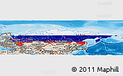 Flag Panoramic Map of Russia, shaded relief outside