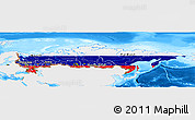 Flag Panoramic Map of Russia, single color outside, bathymetry sea