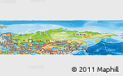 Physical Panoramic Map of Russia, political outside, shaded relief sea