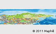 Physical Panoramic Map of Russia, political shades outside, shaded relief sea