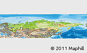 Physical Panoramic Map of Russia, satellite outside, shaded relief sea