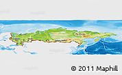 Physical Panoramic Map of Russia, single color outside