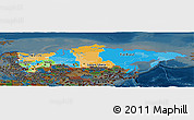 Political Panoramic Map of Russia, darken