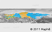 Political Panoramic Map of Russia, desaturated