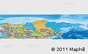 Political Panoramic Map of Russia, political shades outside