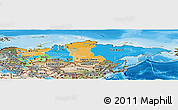 Political Panoramic Map of Russia, satellite outside, bathymetry sea