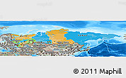 Political Panoramic Map of Russia, semi-desaturated, land only