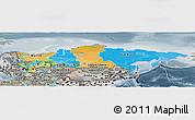 Political Panoramic Map of Russia, semi-desaturated